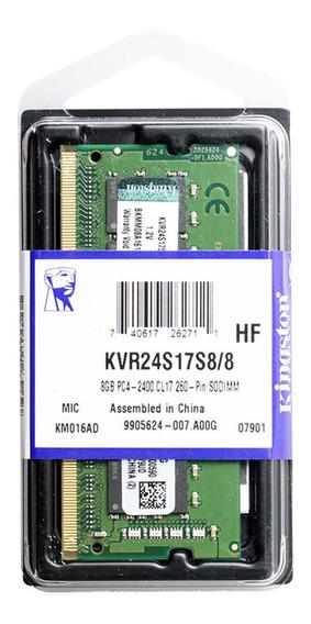 Memória Ram Kingston 8gb 2400mhz Ddr4 Kvr24s17s8/8 Macbook