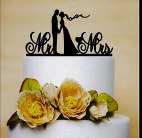 Mr & Mrs Novios Adorno Pastel Cake Topper Precio Especial