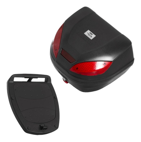 Bauleto Baú Bagageiro Moto Capacete Pro Tork 52l + Suporte