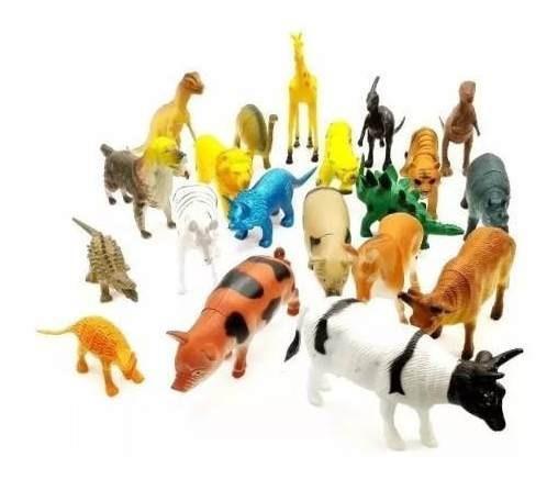 Kit 20 Bonecos Animais Zoo Fazenda Dino Miniatura Borracha