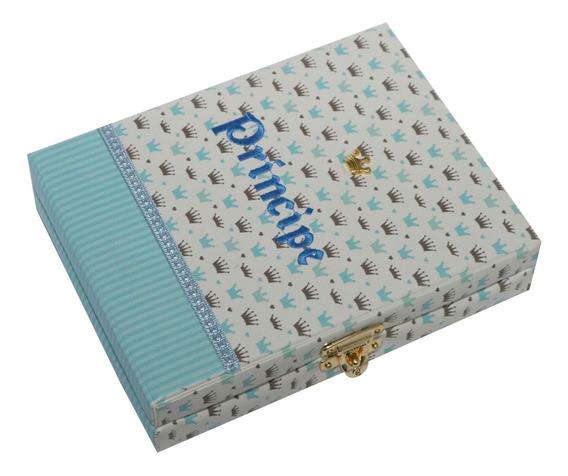 Álbum Luxo Príncipe Coroas Azul 100 Fotos 15x21 + Diário