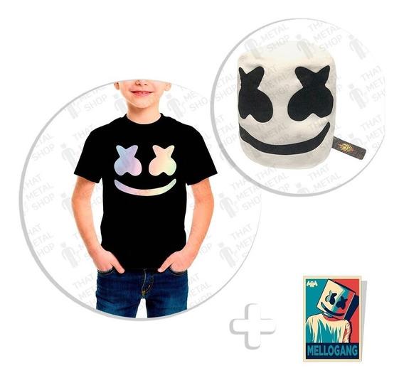 Kit Playera Niño Marshmello Tornasol + Peluche + Sticker