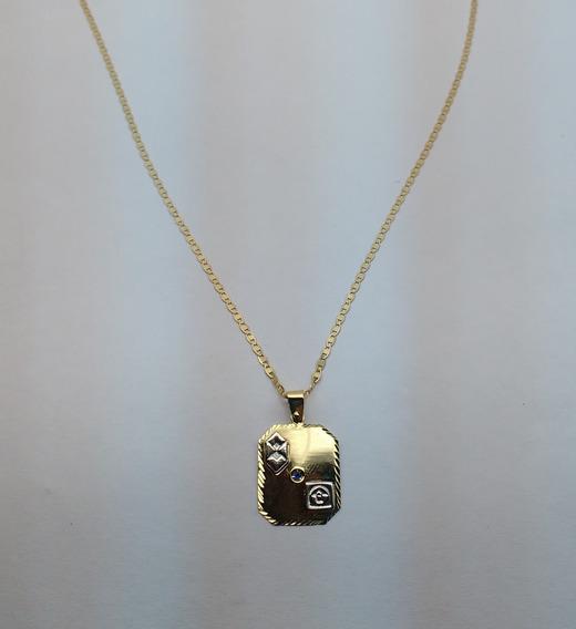 Corrente Piastrine Com Pingente De Formatura Em Ouro 18k 750