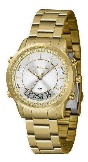Relógio Lince Feminino Dourado Anadigi