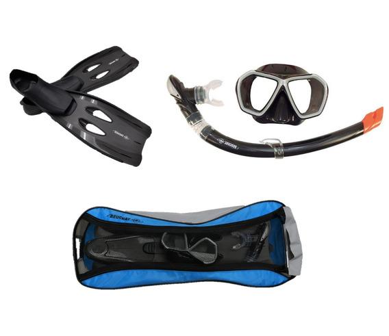 Combo Beuchat Aletas + Visor + Snorkel + Bolsa + Envio