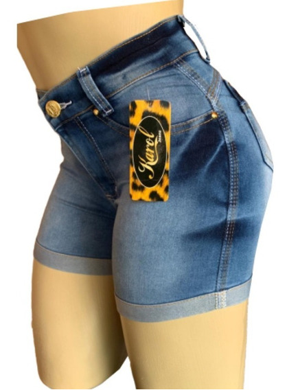Shorts Jeans Feminino Cintura Alta Kit Com 3