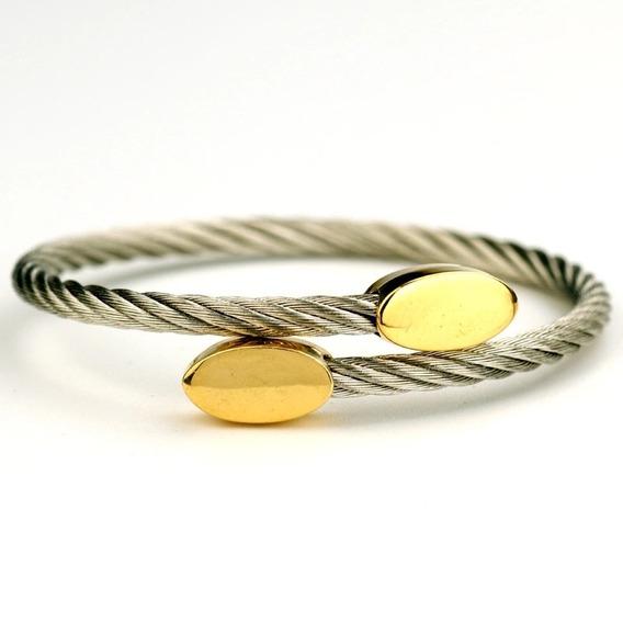 Pulseira Feminina Bracelete Aço Banhada Em Ouro 18k