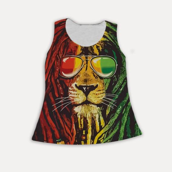 Regata Feminina Leão Lion Rastafari Rasta Jamaica Reggae