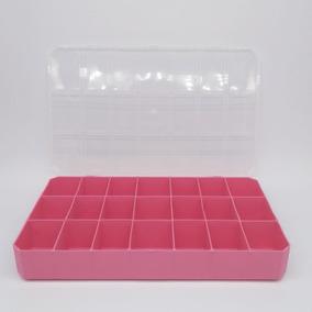 Caixa Organizadora 21 Divisórias - Plástica - Cor Rosa