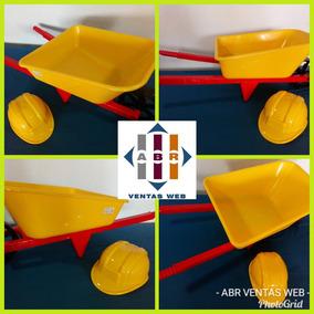 Carretilla De Juguete Y Casco De Constructor Para Niños