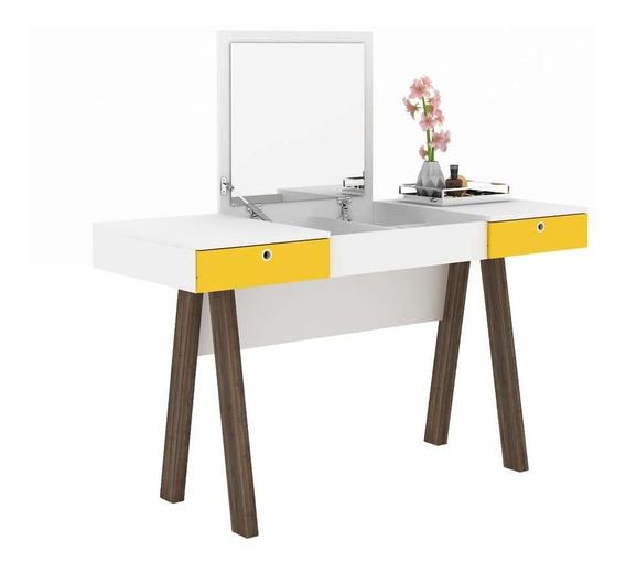 Penteadeira Escrivaninha Pe2002 Branco Com Amarelo E Noce