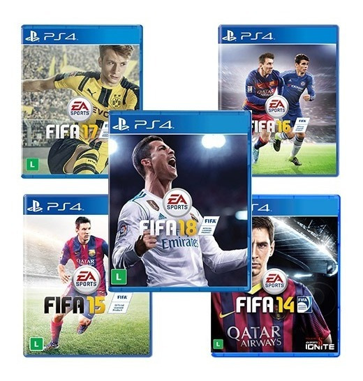 Kit 5 Jogos Fifa Ps4 - Mídia Fisica - Fifa 18-17-16-15-14