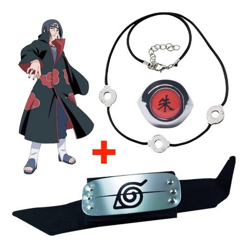 Imagen 1 de 8 de Cosplay Itachi Naruto Anillo + Banda + Collar 3 Círculos