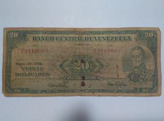 Billete De 20 Bolivares De Mayo 10 Del 1966, Con Bolivar