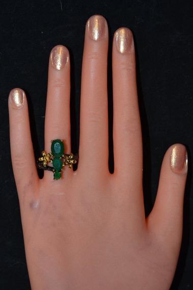 Lindo Anillo De Plata Y Verde Esmeralda Peridoto Semiprecios