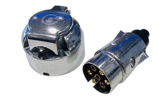 Ficha Enchufe Conector Aluminio Trailer Auto Cuatri 7 Vías