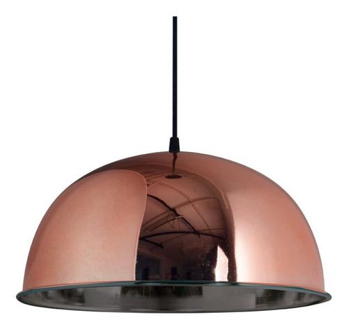 Lámpara Campana Colgante Chapa 1/2 Esfera 340mm. Cobre Deco