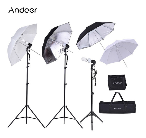 Andoer Photo Studio Kit 2 * 2m Light Stand + 3 * 45w Bulb +