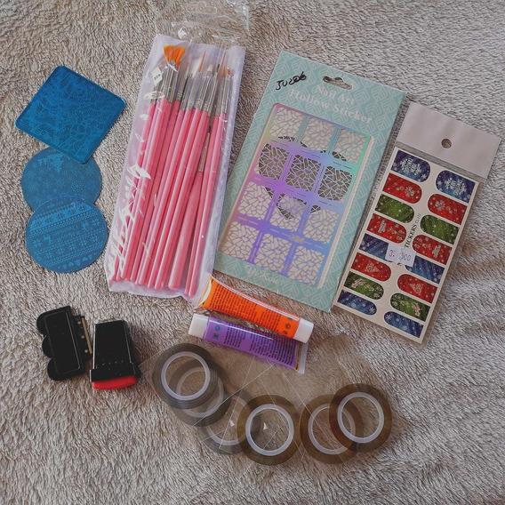 Paquetes Uñas Manicure Manicuristas Pinceles Placas Y Mas