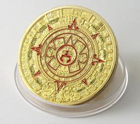 Moeda De Ouro (banhada) Calendário Asteca Ou Profecia Maia