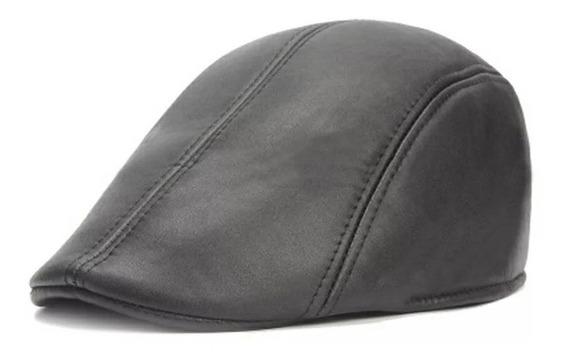 Boina Plana Cuero Eco Gorro Plano Sombrero Unisex Gorras