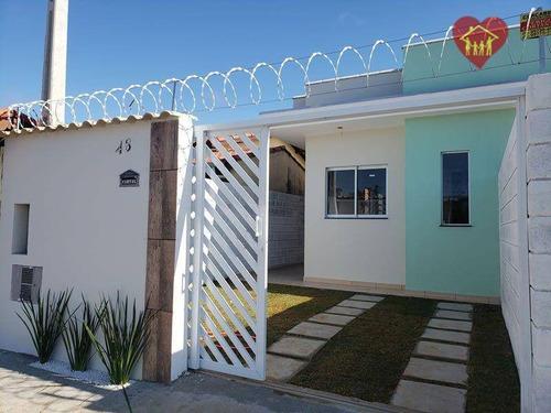 Imagem 1 de 8 de Casa Nova Lado Praia Com Churrasqueira No Bal. Tupy Em Itanhaém. - Ca1025