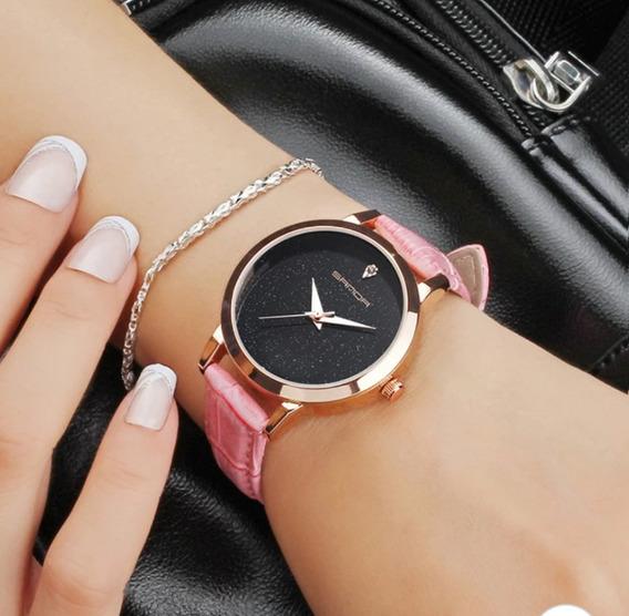 Relógio Sanda Feminino Céu Estrelado Relógio De Pulso Couro