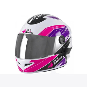 Capacete 4 Racing (viseira Cristal + Viseira Cromada) Pink/l