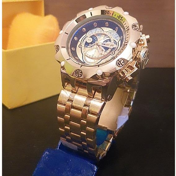 Relógio De Aço Masculino Dourado Luxo Ostentação Promoção