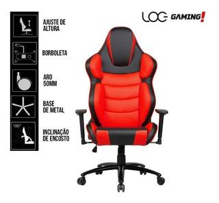 Cadeira Gamer Log Gaming Kw-g67 Giratoria Preta E Vermelha