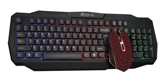 Kit Teclado E Mouse Gamer Xtrike Multicolor 3200dpi