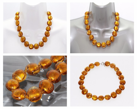 Collar Piedra Natural Dama Mujer Corto Murano Naranja Ccpn99