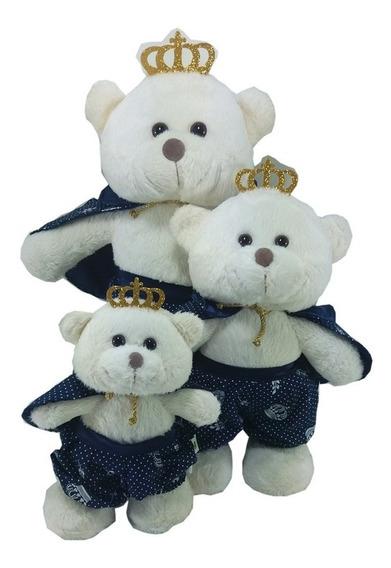 Trio De Urso Príncipe Em Pé Marinho Pelúcia Off White