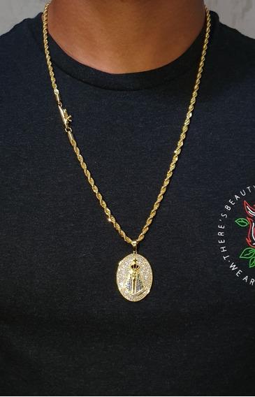 Cordão Baiano Banhado A Ouro Pingente Nossa Senhora