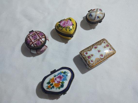 Lote 05 Porta Jóias Miniatura Antigos Em Porcelana Perfeitos