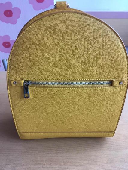 Mochila Amarilla Cuero Impecable Marca Zara