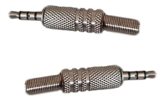 Plug P3 P2 4 Polos Metal - 4 Vias Para Fone Mic Audio Video
