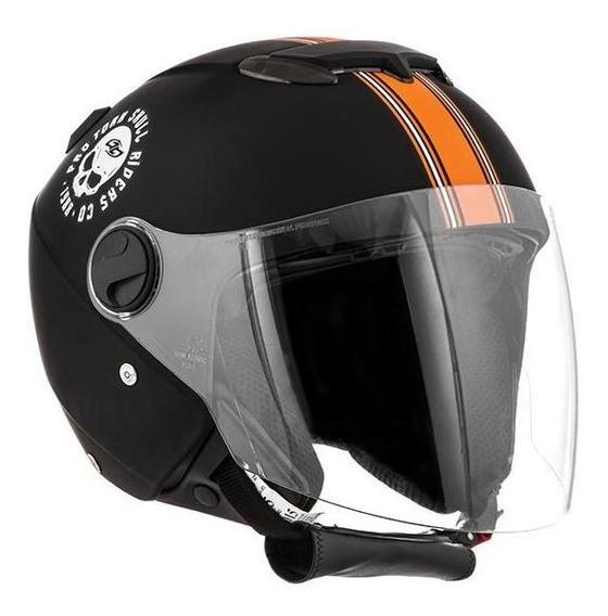 Capacete New Atomic Skull Rid Preto/laranja Fosco Nº. 60