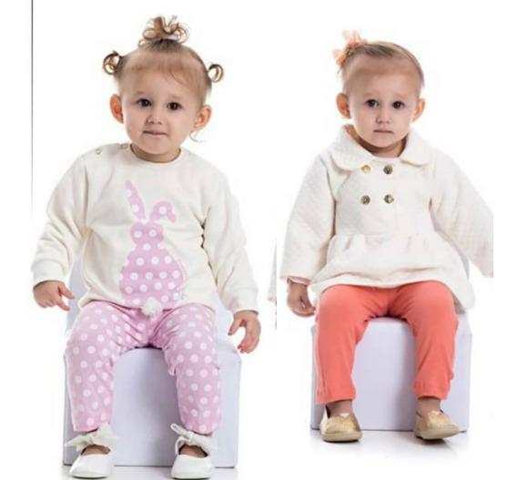 2 Conjuntos Infantis Calça Casaco Moletom Brinde 1 Camiseta