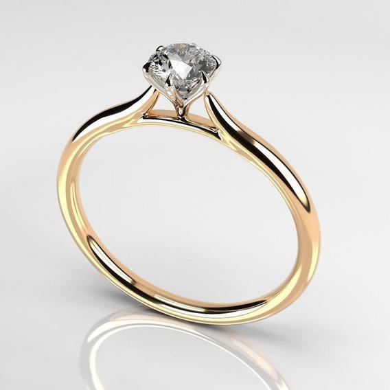 Anel Solitário De Ouro 18k/0750 Casamento Noivado