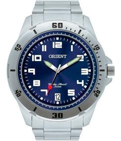 Relógio Orient Masculino Prata Azul Original Mbss1155a D2sx