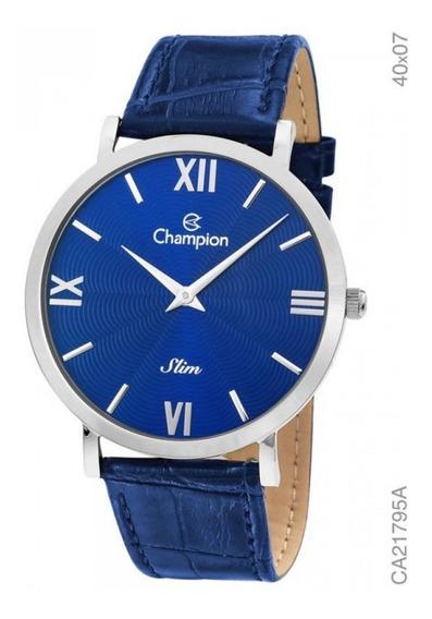 Relogio Masculino Prata Slim Couro Azul Champion Ca21795a