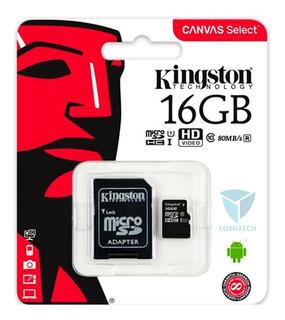 Tarjeta Memoria Micro Sd Hc Capacidad 16gb Clase 10 Kingston