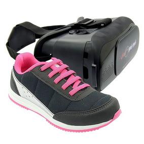 Tenis Diversão Feminino Preto/pink Pé Com Pé Com Óculos Vr