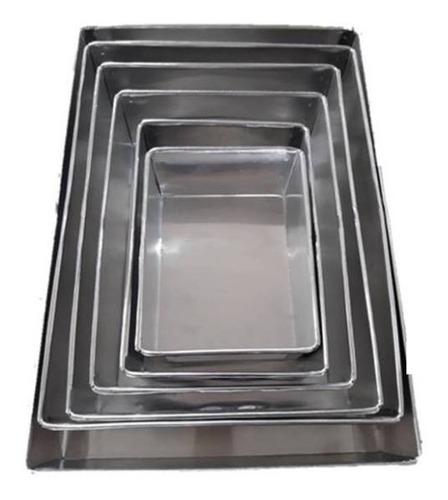 Conjunto Forma Retangular 6 Pçs Para Bolo  Alumínio - 10cm