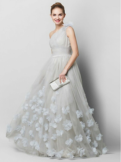 Vestido De Novia Tul Y Flores Gris/silver