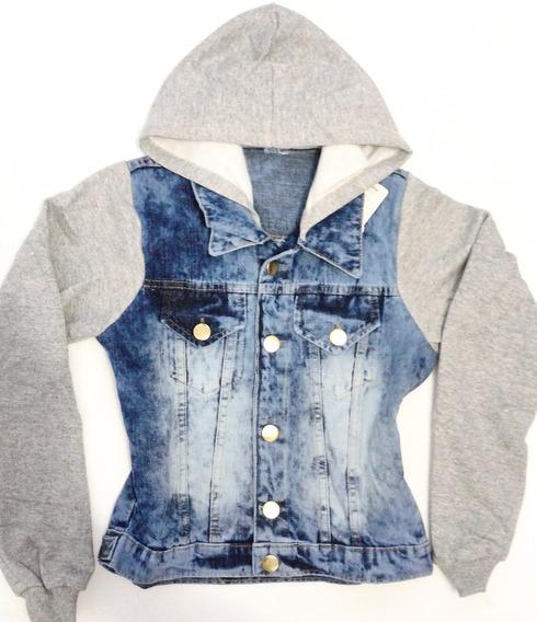 Jaqueta Jeans Com Mangas E Capuz De Moletom
