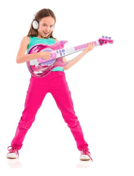 Guitarra Infantil Eletronica Microfone Karaoke Rosa