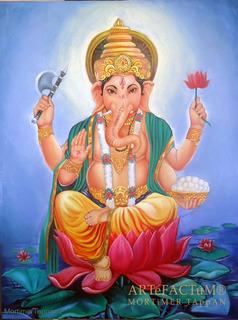 Ganesh Ganapati Ganesha Vinayak Óleo Sobre Tela Dioses