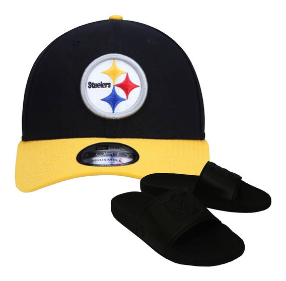 Kit Boné New Era + Chinelo Preto Pittsburgh Steelers Nfl